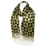 Scarf - Fleur De Lis In Checkers Print - Gold Color -(S1072) - SF-SHL1606GD