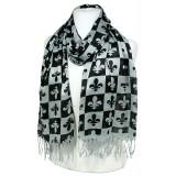 Scarf - Fleur De Lis In Checkers Print - Gray  Color -(S1072) - SF-SHL1606GY