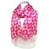 Scarf - Fleur De Lis In Checkers Print - Pink  Color -(S1072) - SF-SHL1606PK