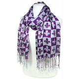 Scarf - Fleur De Lis In Checkers Print - Puprle  Color -(S1072) - SF-SHL1606PL