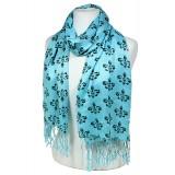 Scarf - Fleur De Lis Print  Shawl - Blue Color - SF-SHL1704BL