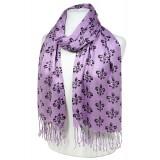 Scarf - Fleur De Lis Print  Shawl - Purple Color - SF-SHL1704PL