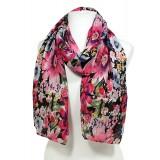 Scarf - Fabric Scarf - Floral Print -  Black - SF-SSF25106BK