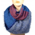 Infinity Scarf - Multi Color Stripes - Blue/Red/Teal Color - SF-16832BLRDTL