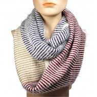Infinity Scarf - Multi Color Stripes - Camel/Burgundy/Black Color - SF-16832CABGBK