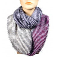 Infinity Scarf - Multi Color Stripes - Purple/Black/Beige Color - SF-16832PLBKBE