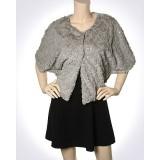 Scarf - Shawl / Wrap : Faux Fur Sequine Clip Button - SF-FFSC3848TP