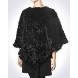 Scarf - Shawl / Wrap : Faux Fur Sequine Poncho - SF-FFSP3849BK