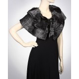 Scarf - Shawl / Wrap : Faux Fur Cpelet W/ Satin Bow - SF-FTCP3686BK