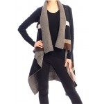 Cardigan/ Vest - Geometric Pattern - Coffee