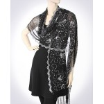Scarf - Shawl / Wrap :Sequined Mesh Shawl - Butterfly - SF-MEST8333BKSL