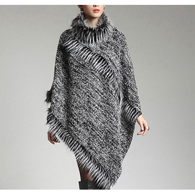 Poncho - Knitted Turtle Neck with Faux Fur Trim - SF-RUM27GY